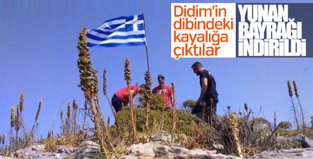 Didim açıklarına dikilen Yunan bayrağı indirildi