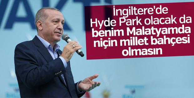 Erdoğan'dan Malatya'ya millet bahçesi müjdesi