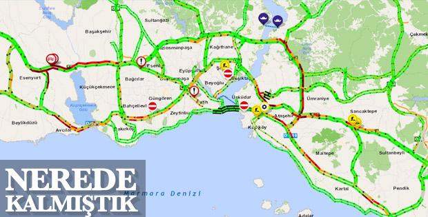 Bayram tatili sonrası İstanbul'da trafik haritası