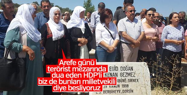 Arefe günü terörist mezarını ziyaret eden HDP'li vekil