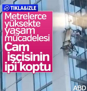 Asansörün halatı kopunca işçi metrelerce yüksekte asılı kaldı
