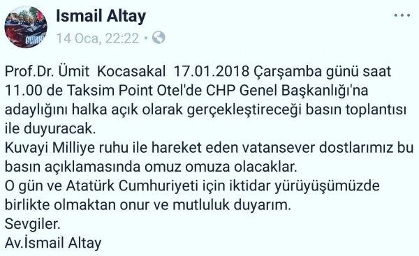 Ümit Kocasakal CHP Genel Başkanlığı'na aday olacak