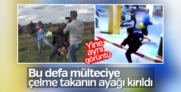 Mülteciye çelme takan polisin ayağı kırıldı