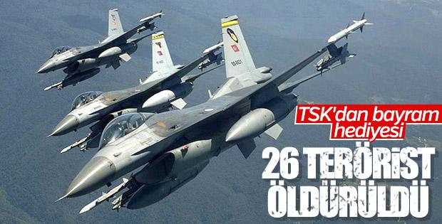 TSK: 26 terörist etkisiz hale getirildi