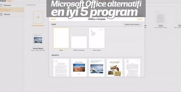 Microsoft Office alternatifi en iyi 5 program