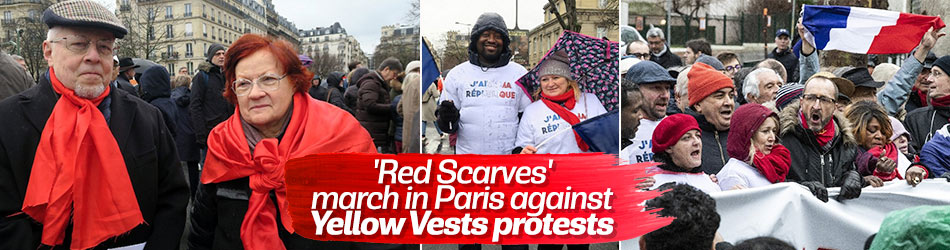 Red Scarves march in Paris against Yellow Vests protests