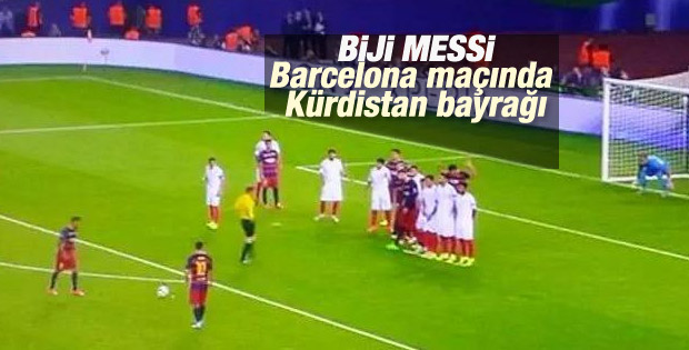 Barcelona-Sevilla maçında Kürdistan bayrağı