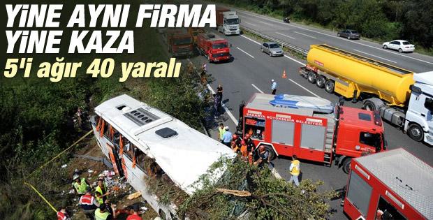 Sakarya'da yolcu otobüsü devrildi İZLE