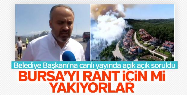 Bursa'daki yangında rant iddiası belediye başkanına soruldu