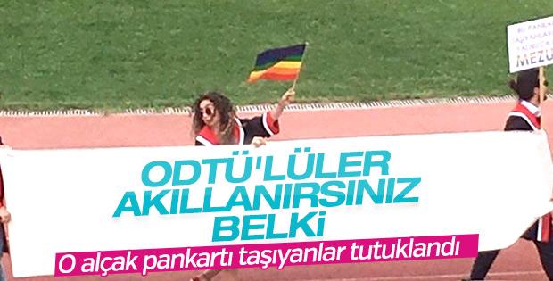ODTÜ'deki skandal pankarta 4 tutuklama