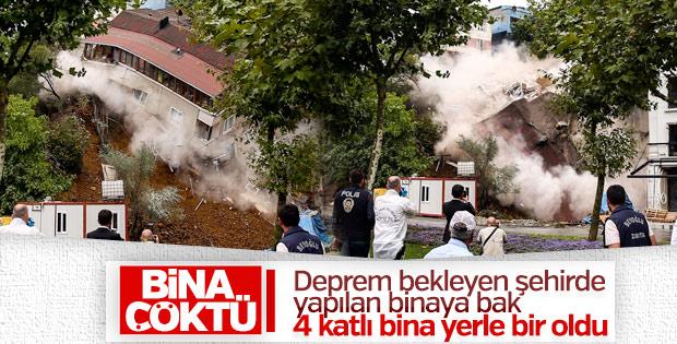 Beyoğlu'nda toprak kayması sonucu bina çöktü