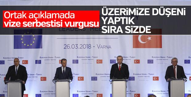 Cumhurbaşkanı'nın Türkiye-AB Zirvesi sonrası açıklaması