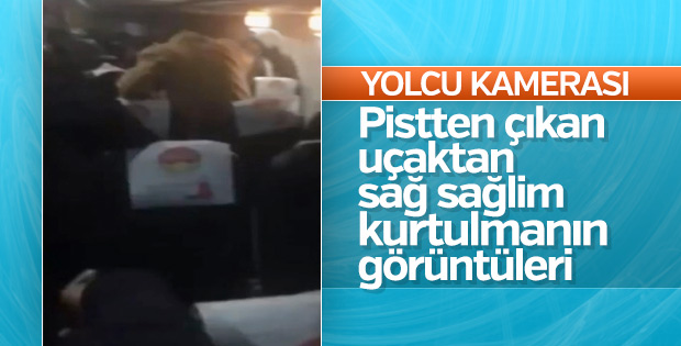 Trabzon'da pistten çıkan uçağın içinde çekilen görüntüler