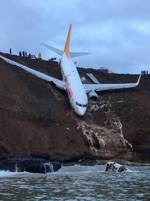 Trabzon'da kaza yapan Pegasus uçağının iniş anı