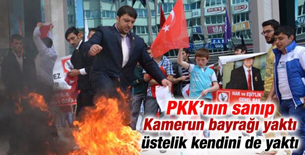 HEPAR'lı başkan PKK'nin sanıp Kamerun bayrağı yaktı