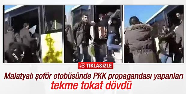 PKK propagandası yapanlar tekme tokat otobüsten atıldı