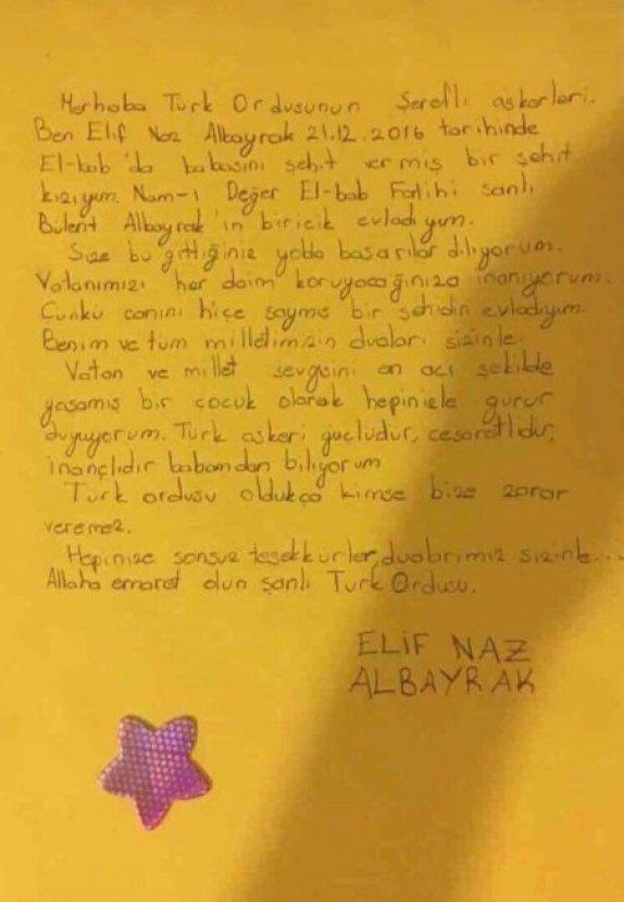 Kahraman şehit Albayrak'ın kızından duygusal mektup