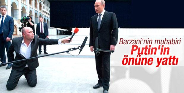 Rudaw muhabiri Putin'in önüne yattı