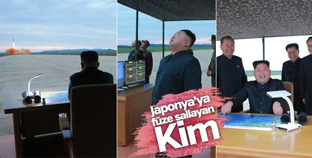 Japonya'ya doğru atılan füze sırasında Kim'in görüntüleri