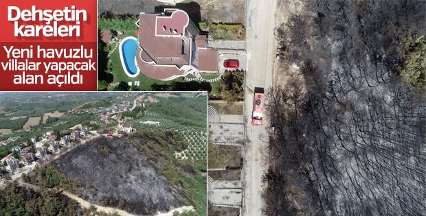 Bursa'daki orman yangını havadan görüntülendi