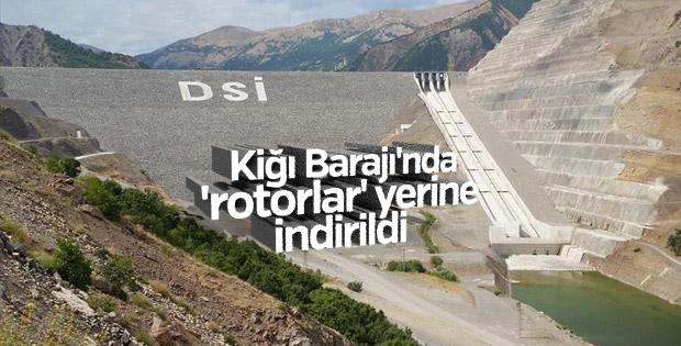 Kiğı Barajı'nda 'rotorlar' yerine indirildi