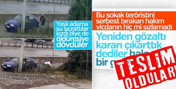Samsun'da yaşlı adamı döven 2 kişi teslim oldu