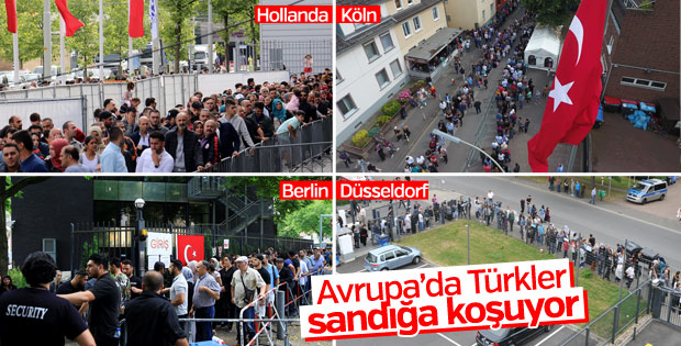 Gurbetteki Türkler sandığa akın etti