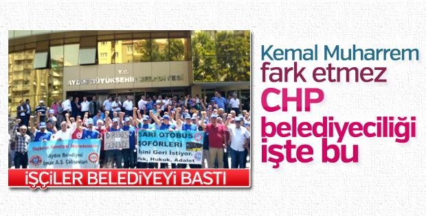 Aydın'da işçiler CHP'li belediyeyi protesto etti