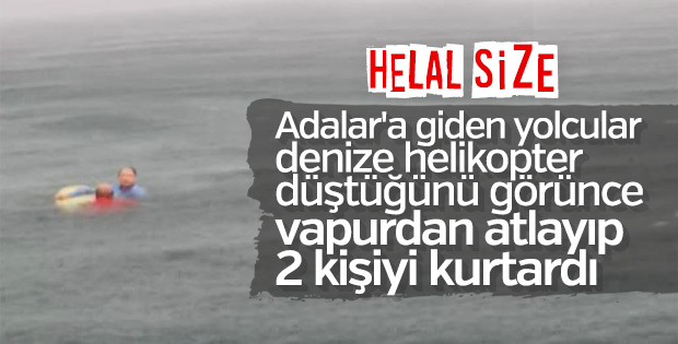 Bostancı'da düşen helikopterdekilere İDO'dakiler yardım etti