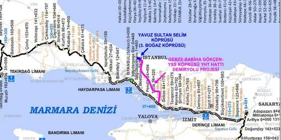 Gebze- Üçüncü Köprü Tren Hattı'nın güzergahı netleşti