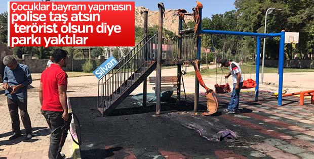 Silvan'da PKK'lı teröristler çocuk parkını kundakladı