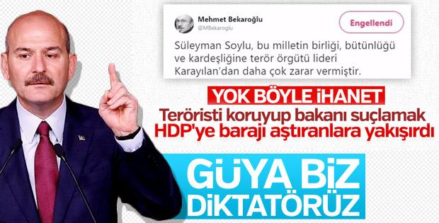 Süleyman Soylu'dan Bekaroğlu'nun hakaretlerine cevap