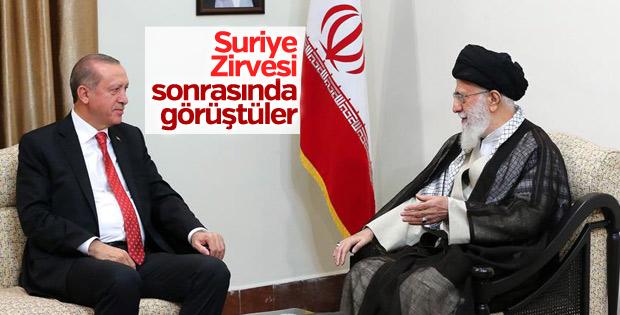 Başkan Erdoğan Ali Hamaney'le görüştü