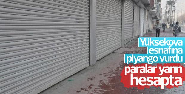 Yüksekova'da terör mağduru esnafa 3 milyon 282 bin lira