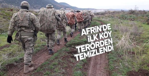 Afrin'de ilk köy teröristlerden temizlendi