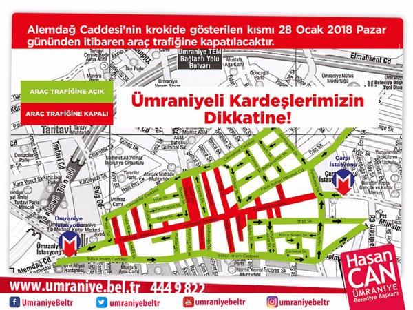 Ümraniye Alemdağ Caddesi yayalara açılıyor
