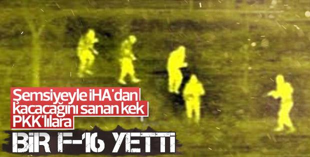 İHA'dan kaçmak için şemsiye kullandılar F-16'ya yakalandılar