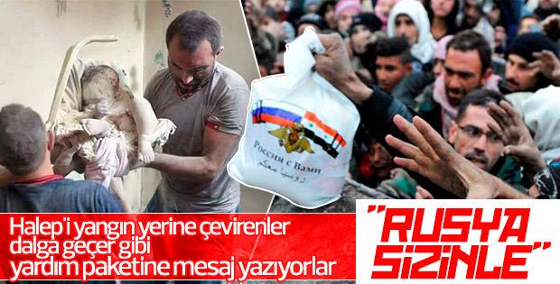 Halep'te yardım poşetlerinde Rusya sizinle mesajı