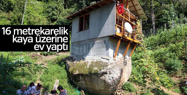 Rizeli adam 16 metrekarelik kaya üzerine ev yaptı