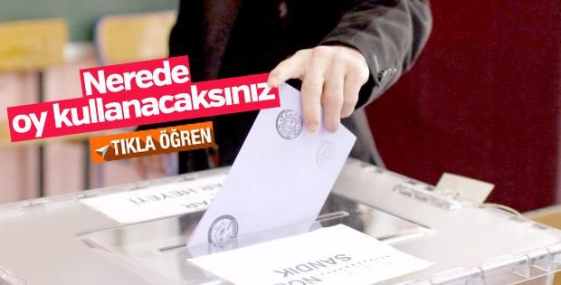 Nerede oy kullanacaksınız