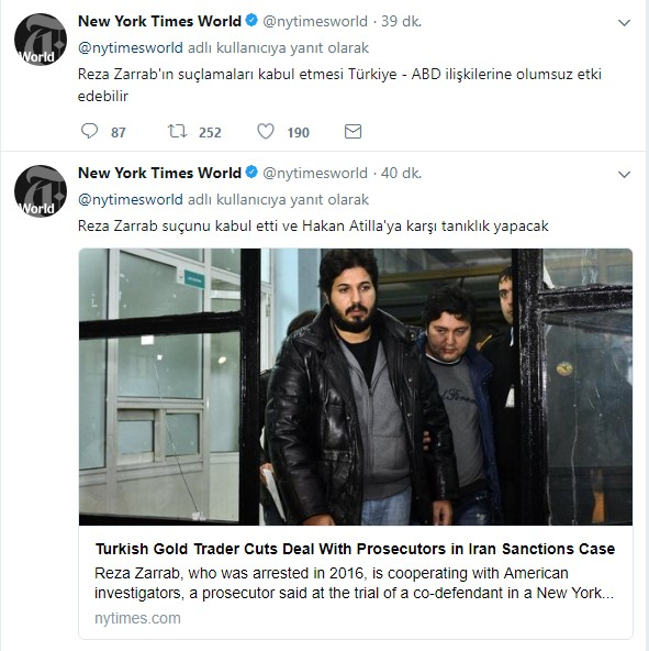 The New York Times'tan Zarrab'la ilgili Türkçe tweet