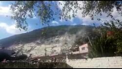 Aydın'da deprem sırasında taş ocağından kopan kaya parçaları