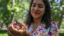 Antalya'da sincap büyüten kadın, ağlayarak doğaya bıraktı