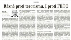 Mevlüt Çavuşoğlu'nun darbe girişimi makalesi Çekya gazetesinde