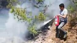 Sivas'ta makinistler treni durdurup yangını söndürdü