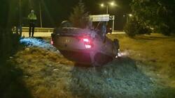 Bursa'da kontrolden çıkan araç takla attı