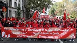 Belçika'da işçiler, maaş sınırlamasını protesto etti