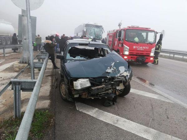 Amasya-Samsun karayolunda peş peşe kaza