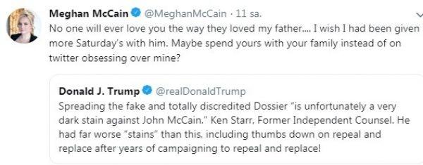 McCain'in kızı Trump'a tepkili: Trump babam gibi sevilmeyecek