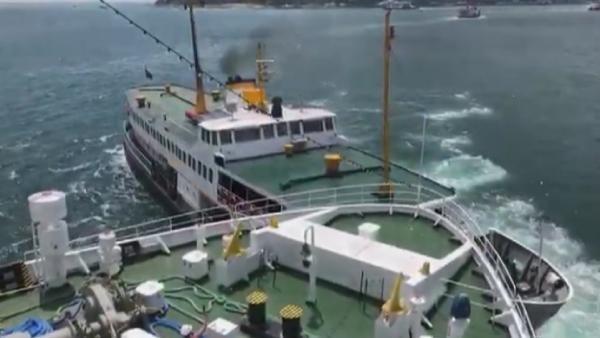 Kabataş açıklarında iki geminin çarpışma anı
